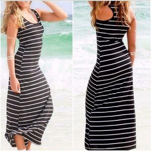 Dresses - striped black and white maxi dress vest sleeveless